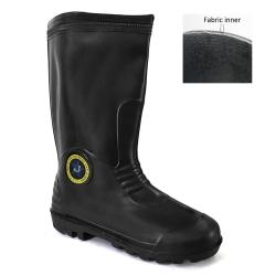 Mid-Calf Rain Boots With Fabric Inner Abaro 3000-S (BK)