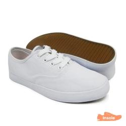 White Canvas Secondary School Shoes Ladies 6263