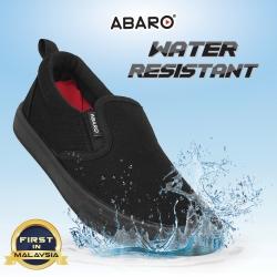 Black School Shoes ABARO W2628 Waterproof Canvas Primary/Secondary Unisex