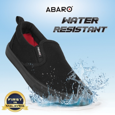 Black School Shoes ABARO W2628 Waterproof Canvas Primary/Secondary Unisex