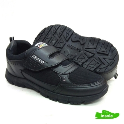 Black School Shoes ABARO 2328 Canvas + PVC Primary/Secondary Unisex
