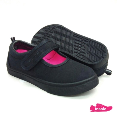 Black School Shoes ABARO 2622 Canvas Pre-School/Primary Girls