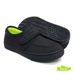 Black School Shoes ABARO 2625 Canvas Pre-School/Primary Girls