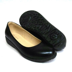 Black PVC Leather Hostel / Uniform / Formal Shoes Girls FM-58361