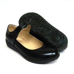 Black PVC Leather Hostel / Uniform / Formal Shoes Girls FM-58362