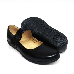 Black PVC Leather Hostel / Uniform / Formal Shoes Ladies FM-68362