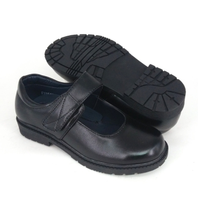 Black PVC Leather International School Shoes Hostel / Boarding / Uniform / Formal ShoeGirl FMA529F6