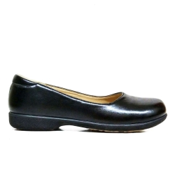 Black PVC Leather School Shoes Hostel / Boarding / Uniform / Formal Shoes Ladies FMA-68A1