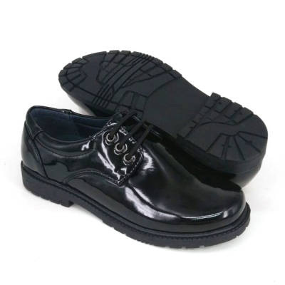 Black PU Leather International School Shoes Hostel / Boarding / Uniform / Formal Shoes Unisex FPA529F2
