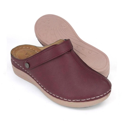 Women Mule Shoes Maroon MLA63G1