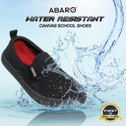 Black School Shoes ABARO 2628 Waterproof Canvas Primary/Secondary Unisex