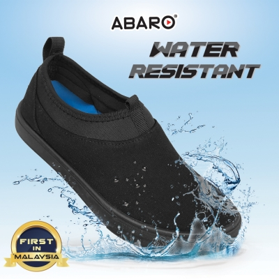 Black School Shoes ABARO W2629 Waterproof Canvas Primary Unisex