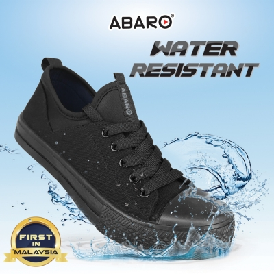Black School Shoes ABARO W2631 Waterproof Canvas Primary Unisex