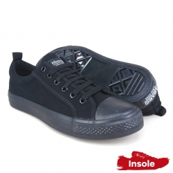 Black School Shoes ABARO 7601 Canvas Secondary Unisex