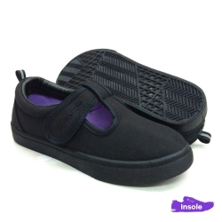 Black School Shoes ABARO 2623 Canvas Pre-School/Primary Girls