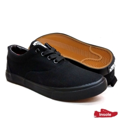 Black School Shoes ABARO 7229 Canvas Secondary Unisex