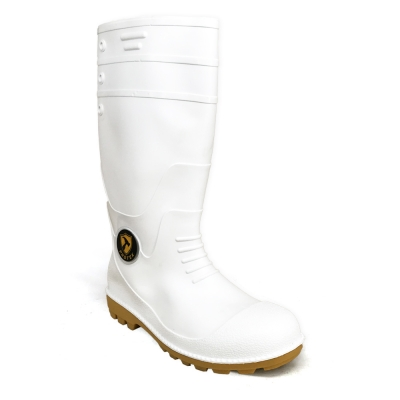 Calf Rain Boots Protek With Fabric Inner PT77 White