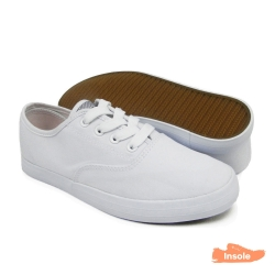 White Canvas Secondary School Shoes Ladies 6263