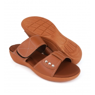 Semi-Wedges Flat Slipper Ladies Almond SLL61AD3
