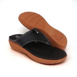 Semi-Wedges Flat Slipper Ladies Black SLL61AD4