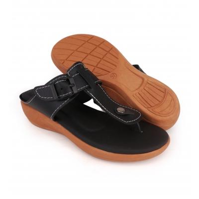 Semi-Wedges Flat Slipper Ladies Black SLL61AD5