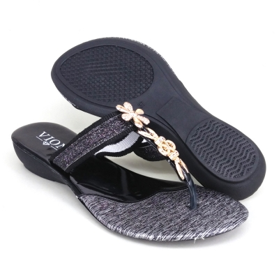 Women Slippers Indian Black SLL61AG2