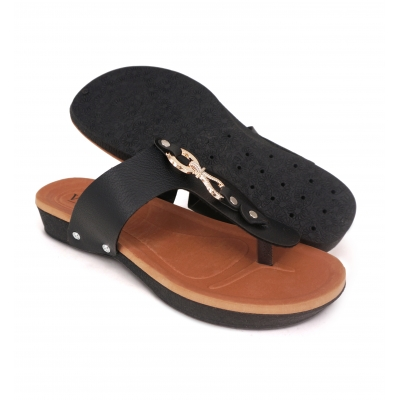 Flat Slipper Ladies Black SLL61D3