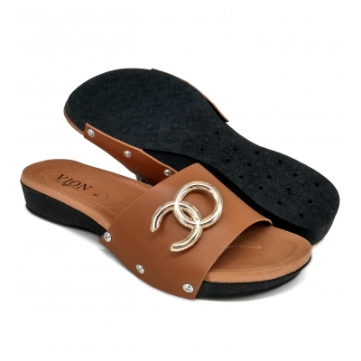 Flat Slipper Ladies Almond SLL61D5