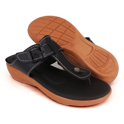 Semi-Wedges Flat Slipper Ladies Black SLL61AD5